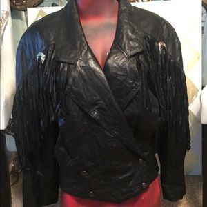 Verducci leather fringe jacket